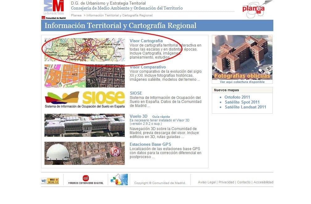 Vista Cartografia Comunidad de Madrid