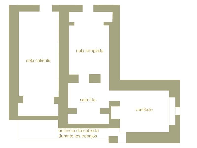 Plano de los Baños del Angel en Toledo. Arqueologia