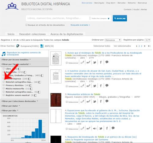 Pagina de resultados de la Biblioteca Digital Hispanica