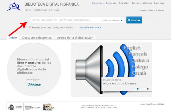 Pantalla de Inicio de la Biblioteca Digital Hispanica