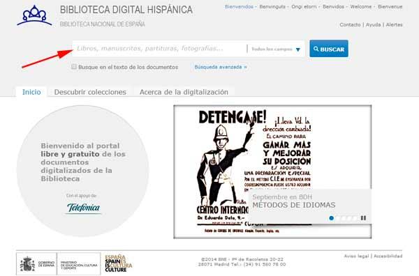 Busqueda en la pagina web de la Biblioteca Digital Hispanica