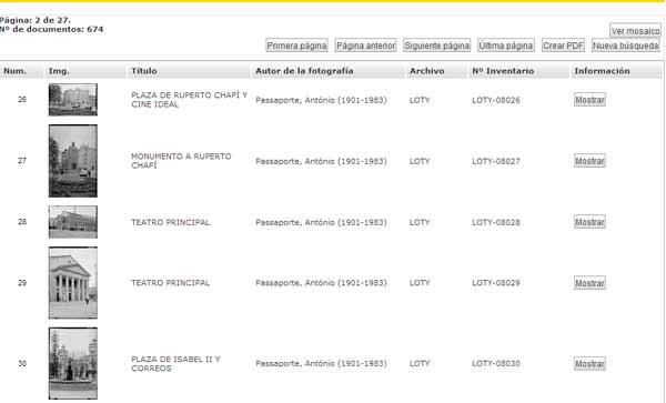 Página de resultados IPCE